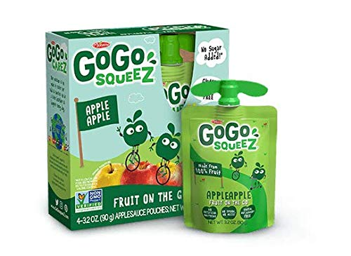 GoGo squeeZ Applesauce on the Go, Apple Apple, 3.2 Ounce (48 Count), Gluten Free, Vegan Friendly, Healthy Snacks, Unsweetened Applesauce, Recloseable, BPA Free Pouches