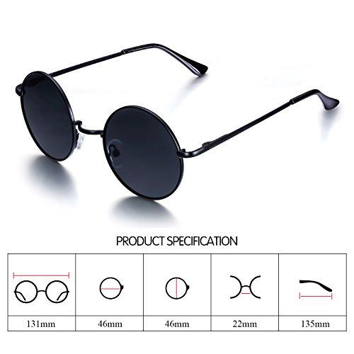02eb8e2ead Amazon.com  Menton Ezil Circle Classic Metal Frame Sunglasses Polarized  Mens Driving Glasses UV400  Clothing