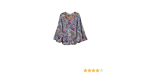 Women Blue Chiffon with V-Neck Lace Floral Print Caftan Tunic (Satin Label). One Size at Amazon Womens Clothing store: