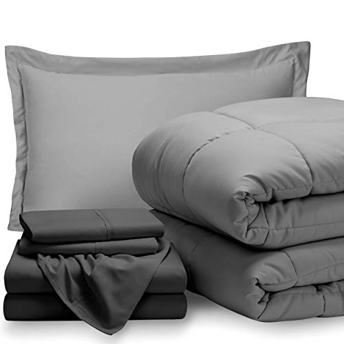 Bare Home Bed-in-A-Bag 5 Piece Comforter & Sheet Set - Twin Extra Long - Goose Down Alternative - Ultra-Soft 1800 Premium - Hypoallergenic - Breathable Bedding Set (Twin XL, Light Grey/Grey)