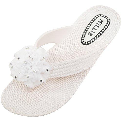 Dames / Heren Zomer / Vakantie / Strand Millie Sandalen / Schoenen / Flip-flops Met Diamante Bloem Wit
