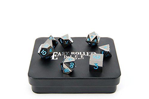 Powder Blue Gun Metal Polyhedral Dice Set | 7 Piece | Professional Edition | FREE Display Case | Hand Checked Quality ()