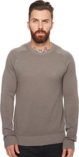 Original Penguin Men's Long Sleeve Honeycomb Pique Sweater, Steel Gray, Small