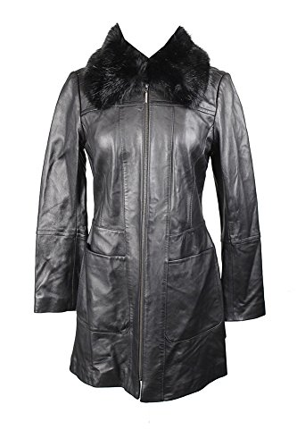 Walker Coat Leather (Anne Klein Black Faux-Fur-Collar Leather Walker Coat S)