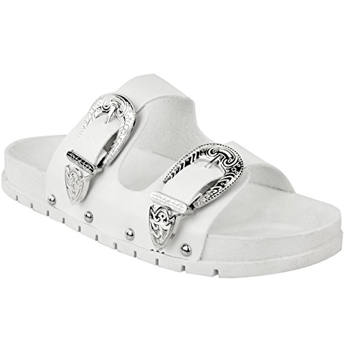 Fashion Thirsty Ladies Womens Studded Buckle Slip On Mules Summer Sliders Sandals Shoes Size White Faux Leather / Silver Buckle