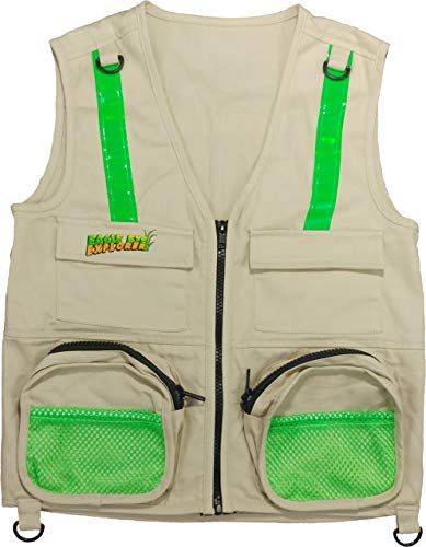 (Tan Eagle Eye Explorer Cargo Vest for Kids with Reflective Safety Straps. 100% Cotton. Size: M/L-US)