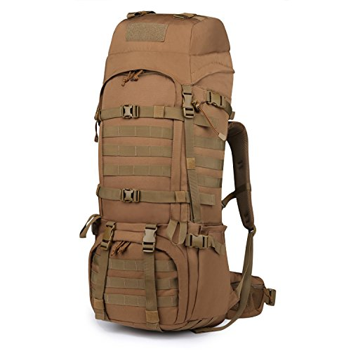 Mardingtop 65L Internal Frame Backpack Tactical Military Molle Rucksack for Camping Hiking Traveling with Rain Cover, YKK Zipper YKK Buckle - Pack Frame Trek Internal