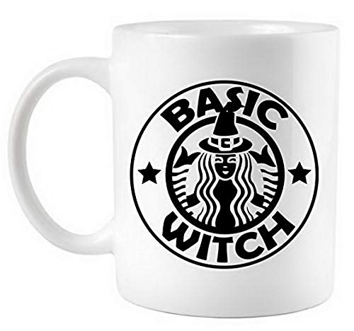 Funny Basic Witch Parody Funny Halloween Coffee Mug Gift Coffee Mug 11OZ Coffee Mug Women Men Girl Boy Family Friends Teacup Home Office -