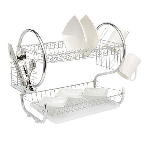 Coldcedar 2-Tier Modern Steel Rust Proof Dish Rack and Dryer DrainBoard Set Dish Drying Rack S Shape Tray Cultery Dish Drainer Home Kitchen Organizer Chrome Plate Dish Cup Easy to Assemble ()