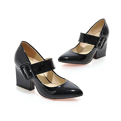 Azmodo Womens Thick Heel Pu Leather Dancing Pumps Maryjane (us 6.5-7 / Eu 37 / Cn 37, Nero)
