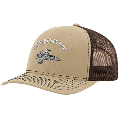 Custom Richardson Trucker Hat F-18 Hornet Embroidery Military Unit Polyester Baseball Mesh Cap Snaps - Khaki/Coffee, Personalized Text Here