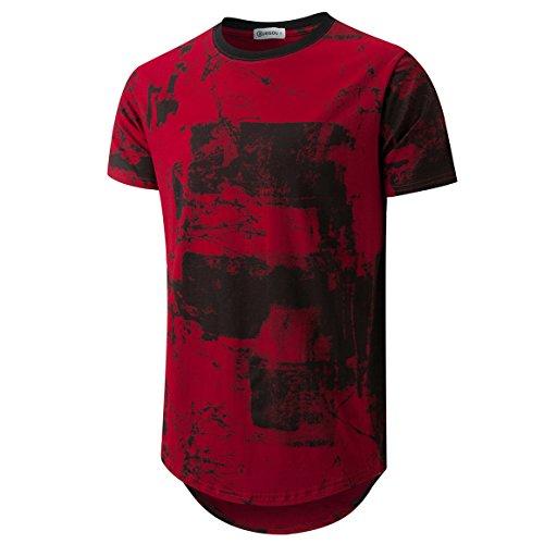 Urban T-shirt Designs - KLIEGOU Mens Hipster Hip Hop Ripped Round Hemline Pattern Print T Shirt 86 Red Wine M