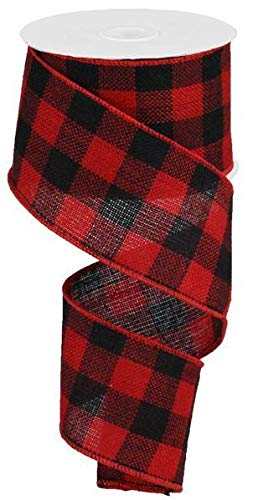 Wired Red Fabric Lumberjack Buffalo Plaid Ribbon, 2.5' Wide x 10 Yards, Black Red Buffalo Check : Lumberjack Party Supplies 2.5 Wide x 10 Yards Black Red Buffalo Check : Lumberjack Party Supplies : Rustic Pearl Collection