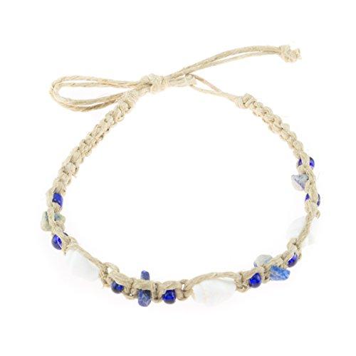 BlueRica Hemp Anklet Bracelet with Nassa, Lapis Stone Chips and Dark Blue Beads ()