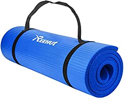REEHUT Extra Thick Exercise Mat 1/2-Inch High Density NBR mats for Yoga,Pilates,Fitness & Workout w/Carrying Strap
