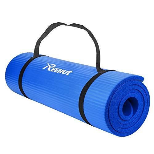 REEHUT 1/2 اینچ با چگالی بالا و ضخامت بالا NBR ورزش یوگا برای پیلاتس ، تناسب اندام و تمرین w / حمل تسمه