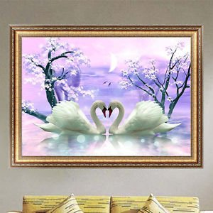買取 diy 5d diamond painting two swans embroidery cross stitch home