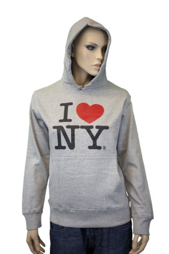 Hooded Print Sweatshirt Screen (I Love NY New York Hoodie Screen Print Heart Sweatshirt Gray Small)