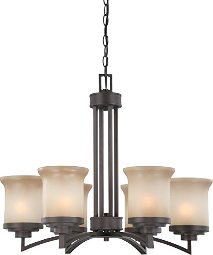 Nuvo Lighting 60/4125 Six Light Harmony Chandelier with Saffron Glass, Dark Chocolate Bronze