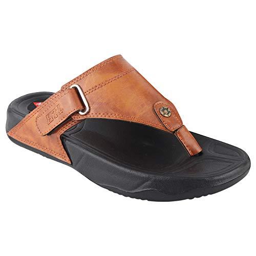 HITCOLUS Men's Comfort Leather Flip-Flop Sandal Thong Sandals Slippers Tan