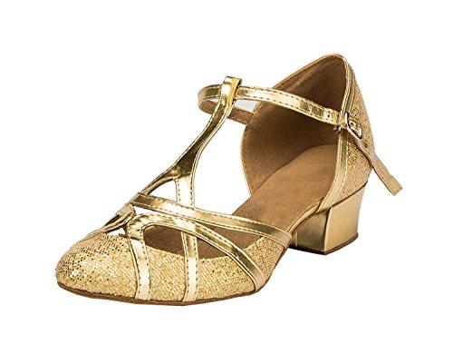 Minishion Women's Chunky Low Heel Gold Glitter Salsa Tango Ballroom Latin Dance Shoes Wedding Pumps 7 - Customize Customise