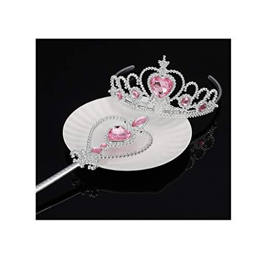 Kaimeng Partie De Filles Costumes De Cosplay Kit Accessoires Neige Reine Filles Couronne Et Baguette Magique (rose) Rose