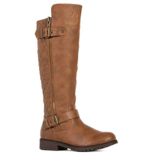 RF ROOM OF FASHION Ladys Quilted Knee High Hidden Pocket Riding Boots (Medium Wide Calf)