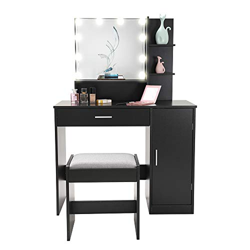 Vanity Set with 10 Light Bulbs, Makeup Table Vanity Dressing Table, 1 Large Drawer, 1 Storage Cabinet,1 Cushioned Stool for Bedroom, Bathroom, Black YSZT002HD
