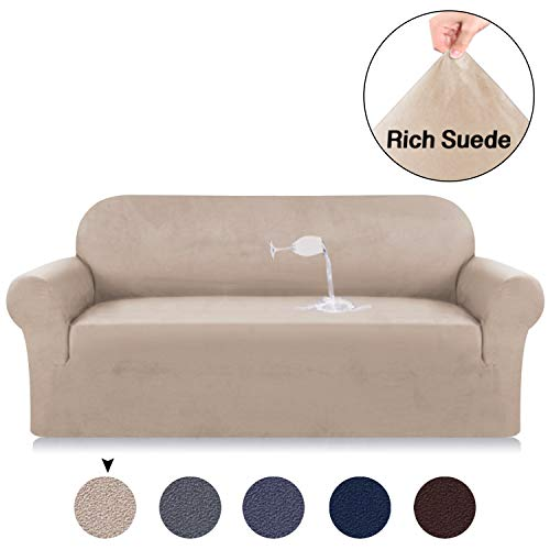 Velvet Plush Sofa Slipcovers for 3 Seater Sofa Cover Suede Couch Slipcover High Stretch Suede Cover for Living Room Khaki Suede Spandex Slipcover Slip Resistant One Piece Sofa Slipcover (Sofa, Sand)