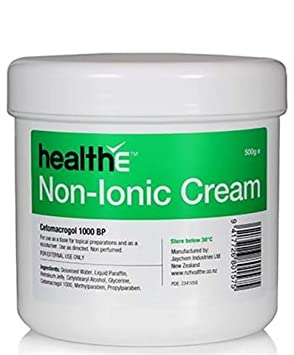 healthE – Non-Ionic Cetomacrogol 1000 BP Cream – Suitable for Sensitive Skin, Eczema, Dermatitis and Psoriasis 500g Pot
