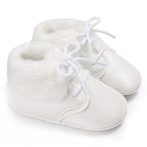 ❆Huhu833 Kinder Mode Baby Schuhe Soft Sole, Baby Kleinkind Schuhe Tarnungs Weiche Anti Rutsch Turnschuhe beiläufige Shoelace Schuhe (0~18 Month) Weiß