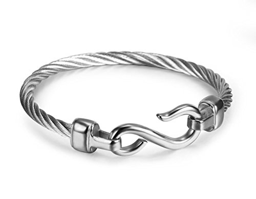 Simple Trendy Stainless Steel Cable Bangle Bracelet for Men and Women, with Hook Buckle,Silver