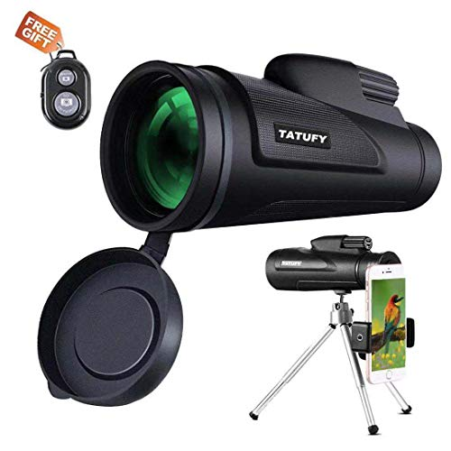 Tatufy 12x50 HD Dual Focus Low Night Vision Waterproof High Power Spotting Scopes for Adults with Cell Phone Photography Adapter for Bird Watching, Hunting, Camping,Travelling ()