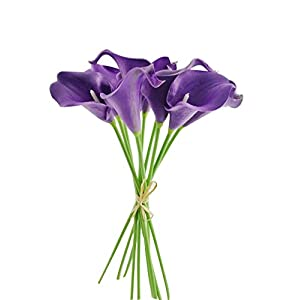 Unigift Latex Real Touch Artificial Calla Lily Flower Bouquet Wedding Party Home Bedroom Garden Restaurant Decoration - Bunch of 10 (Eggplant Purple) 9