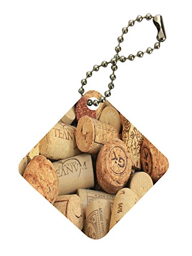 Wine and Champagne Corks Pattern Background Diamond Keychain by Moonlight Printing