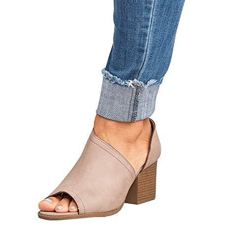 Minetom Women Slip On Fashion Faux Suede Side Cuts Peep Toe Chunky Block Low Heel Ankle Booties Khaki 8 B (M) US