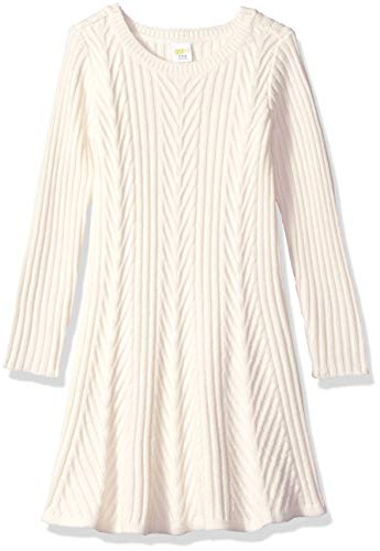 - Crazy 8 Girls' Big Long Sleeve Casual Knit Dress, Jet Ivory, M