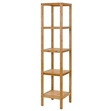 Songmics 100% Bamboo Bathroom Shelf 5-Tier Multifunctional Storage Rack Shelving Unit UBCB55Y