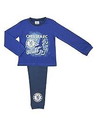 Childs Football Chelsea FC 'Blues' Boys Pyjama Set, 100% Cotton, Long Sleeved