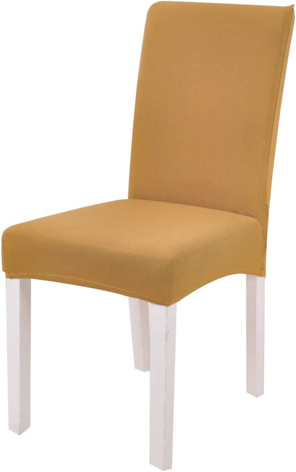 FORCHEER Spandex Chair Seat Slipcovers Washable Removable Stretch Dining Room Chair Seat Covers Upholstered High Elastic for Kitchen Yellow