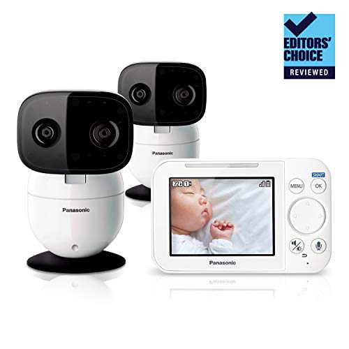 Panasonic Video Baby Monitor with Remote Pan/Tilt/Zoom, Extra Long Audio/Video Range, 2 Way Talk and Lullaby or White Noises - 2 Cameras KX-HN4102W (White) - Updated 2019 Version