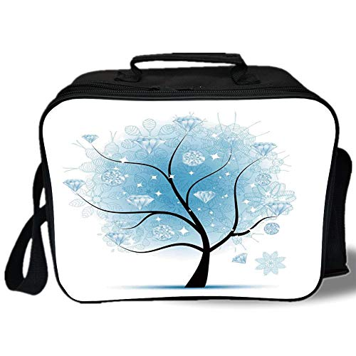 - Insulated Lunch Bag,Tree,Fairy Floral Winter Tree with Diamond Leaves on Branches Digital Prints Decorative,Blue Black,for Work/School/Picnic, Grey