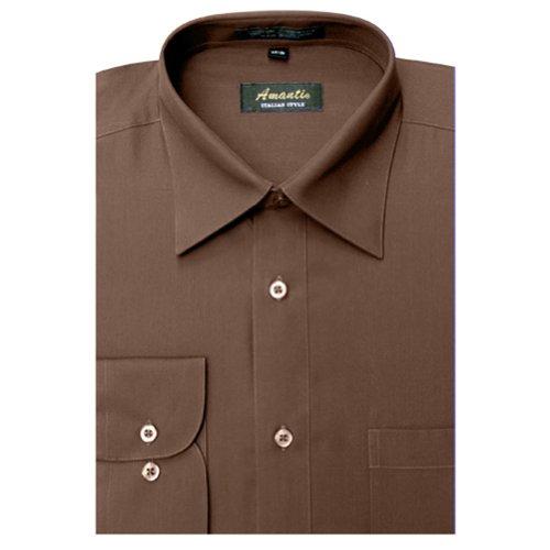 Amanti Brown Colored Men's Dress Shirt Long Sleeve Convertible 18.5-36/37