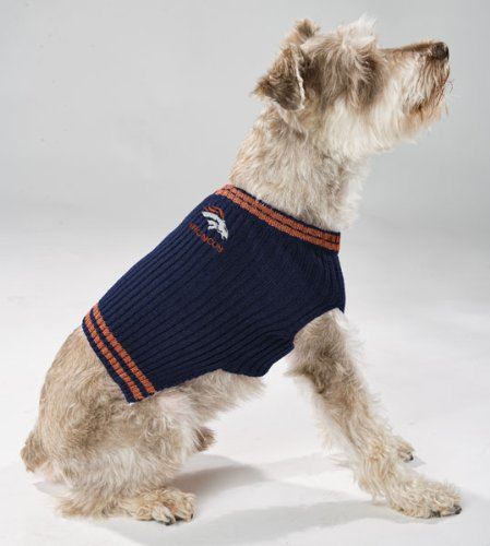 best service 81120 ccb39 Pets First NFL Denver Broncos V-Neck Dog Sweater, X-Small