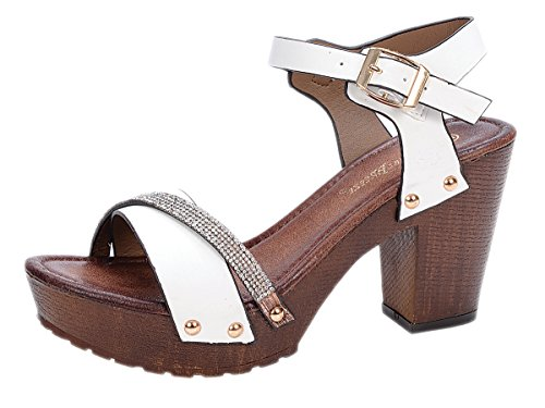 (Nature Breeze Vint-02 White 7.5 Platform Wedge Wooden Heel Rhinestone)