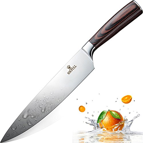 French Kitchen Knives (Professional Chef Knife, Soufull 8 inch Stainless Steel Kitchen Knife-Razor Sharp Durable Blade,Well Balanced Ergonomic Pakka Wood Handle,Multipurpose Top Chef's Knife with Gift Box)
