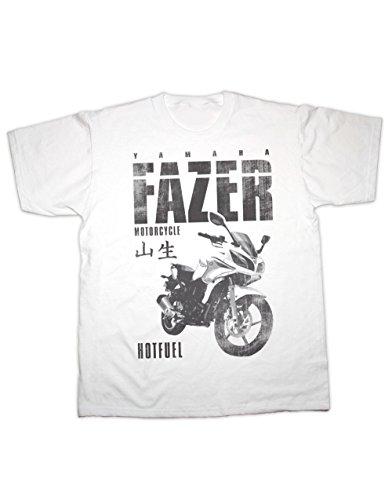 Hot Fuel Men's Fazer Motorcycle Print T-Shirt Large White