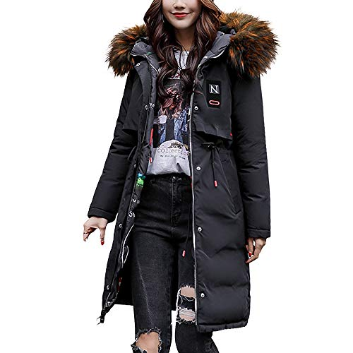VESNIBA New Women Winter Warm Coat Faux Fur Hooded Thick Warm Slim Jacket Long Overcoat (Satin Sst)