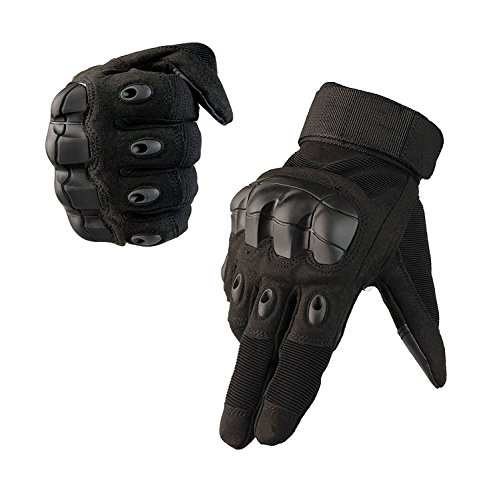 Fuyuanda Full Finger Outdoor Glove Touch Screen Men`s Tactical Cycling Hunting Climbing Sports Glove for Military Airsoft Paintball Pistol Riding Motorcycle Smart Phone (Black, XL)