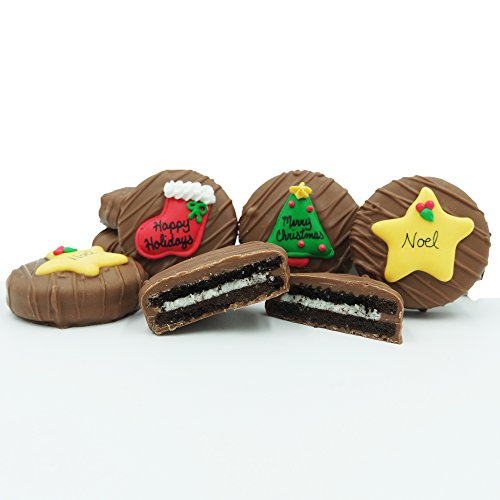Philadelphia Candies Milk Chocolate Covered OREO Cookies, Christmas Greeting Assortment (Happy Holidays, Noel, Merry Christmas) Gift Net Wt 8 oz (Cookie Gifts For Christmas)